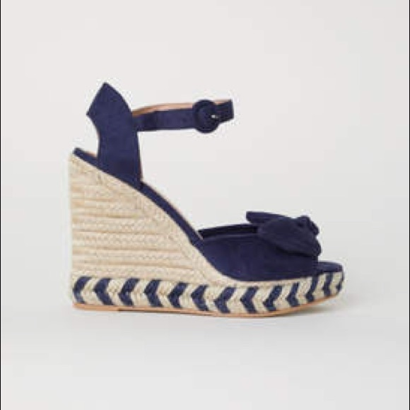 Hm Navy Blue Wedge Espadrille Sandals